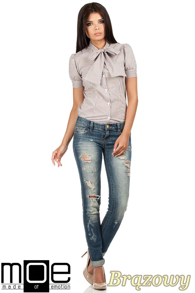 CM0786 Koszula damska w kratkę z kokardą i krótkim rękawem - brązowa