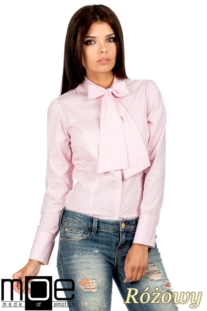 CM0787 Oryginalna koszula w kratkę z kokardą i długim rękawem - różowa