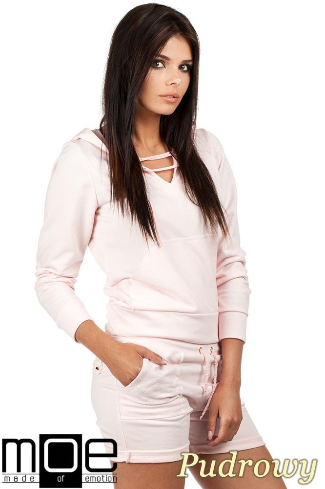 CM0788 Bluza damska z kapturem w sportowym stylu - pudrowa
