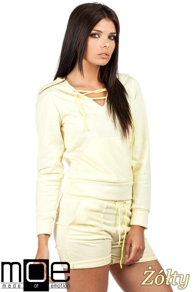 CM0788 Bluza damska z kapturem w sportowym stylu - żółta