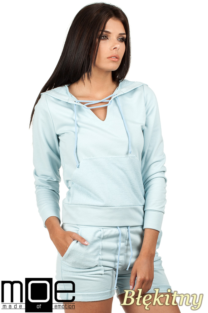 CM0788 Bluza damska z kapturem w sportowym stylu - błękitna