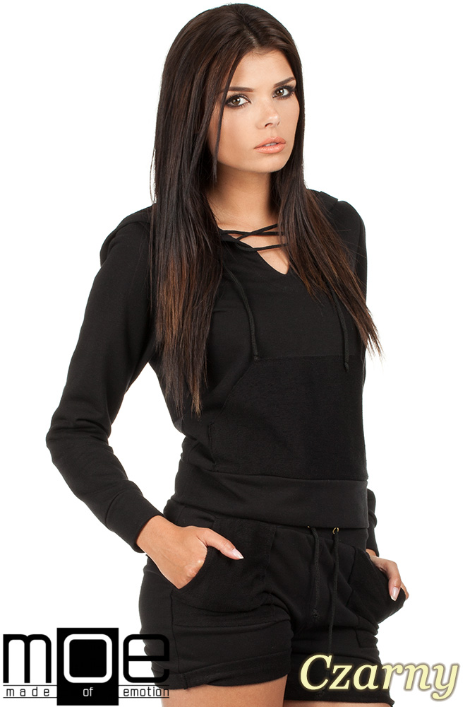 CM0788 Bluza damska z kapturem w sportowym stylu - czarna