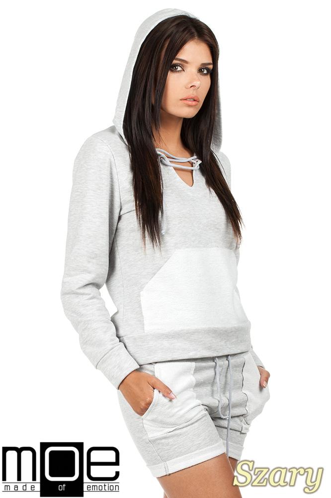 CM0788 Bluza damska z kapturem w sportowym stylu - szara