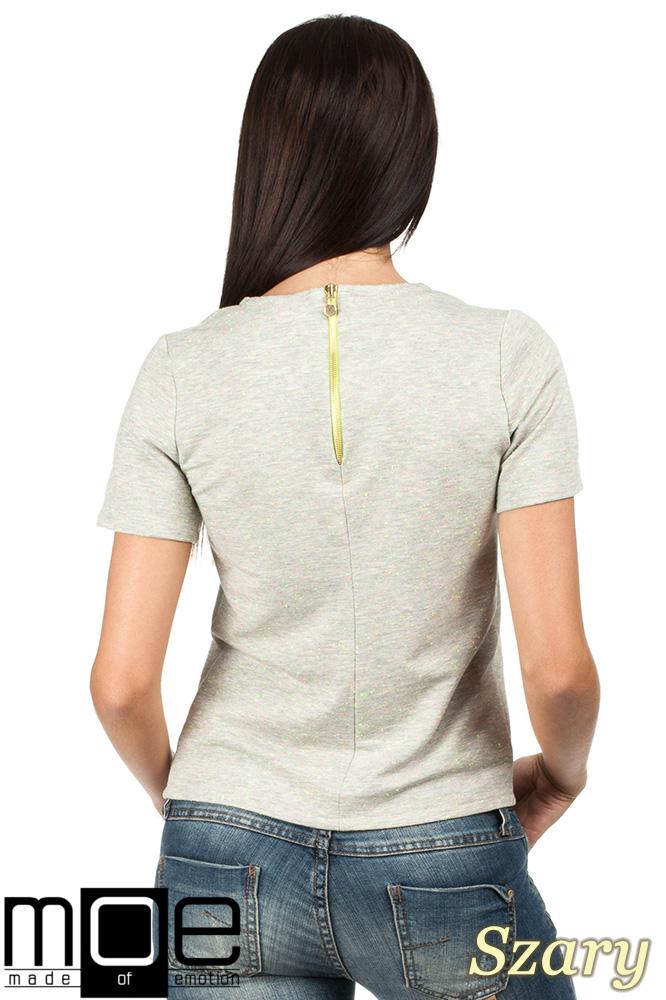 CM0790 Bluzka damska w neonowe pęczki - szara OUTLET