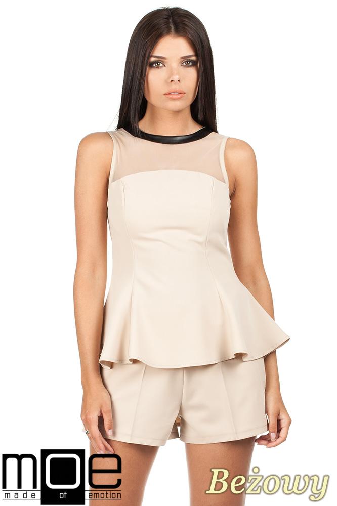 CM0791 Elegancka bluzka damska z tiulową wstawką i asymetrycznym tyłem - beżowa