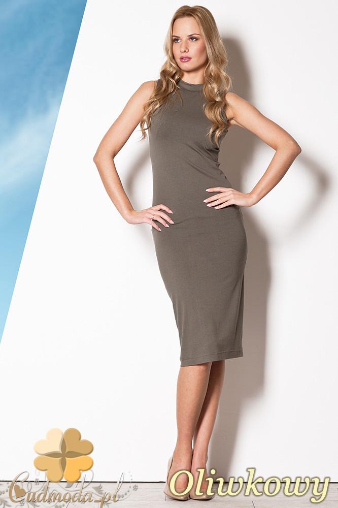 CM0799 FIGL M263 Dopasowana sukienka midi - oliwkowa