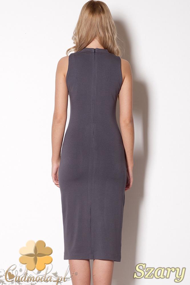 CM0799 FIGL M263 Dopasowana sukienka midi - szara