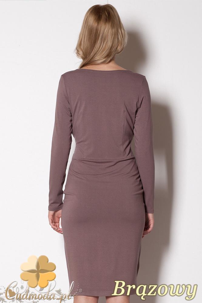 CM0800 FIGL M264 Dopasowana sukienka z kopertowym dekoltem - brązowa