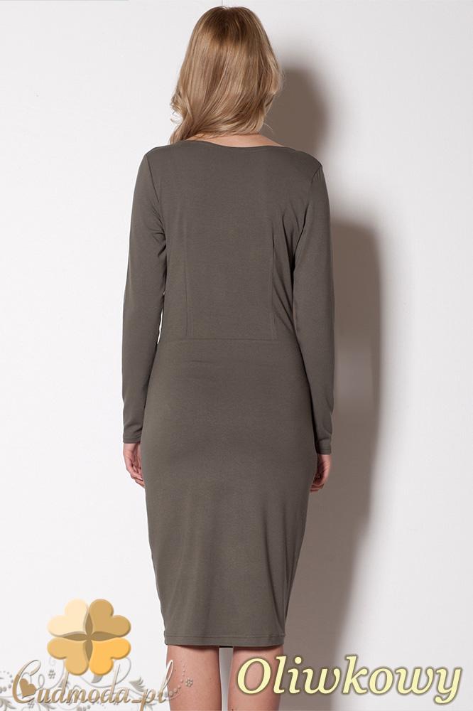 CM0800 FIGL M264 Dopasowana sukienka z kopertowym dekoltem - oliwkowa