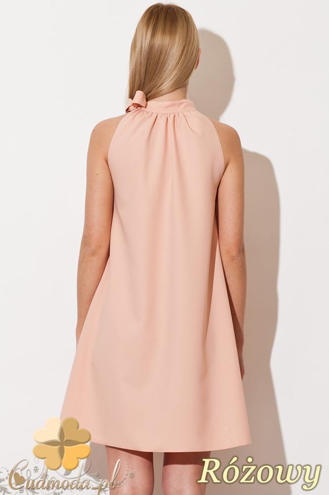 CM0810 FIGL M277 Sukienka tunika w kształcie litery A z wiązaniem  na szyi - różowa