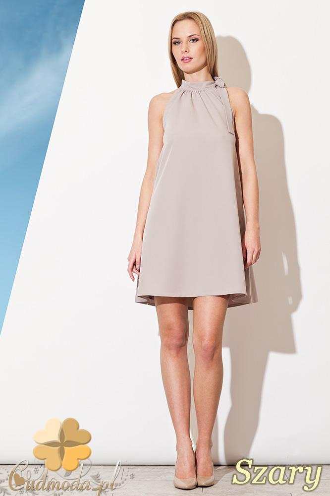 CM0810 FIGL M277 Sukienka tunika w kształcie litery A z wiązaniem  na szyi - szara