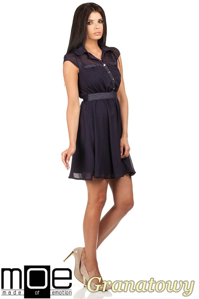 CM0792 Zwiewna szyfonowa sukienka w kropeczki 2w1 - granatowa