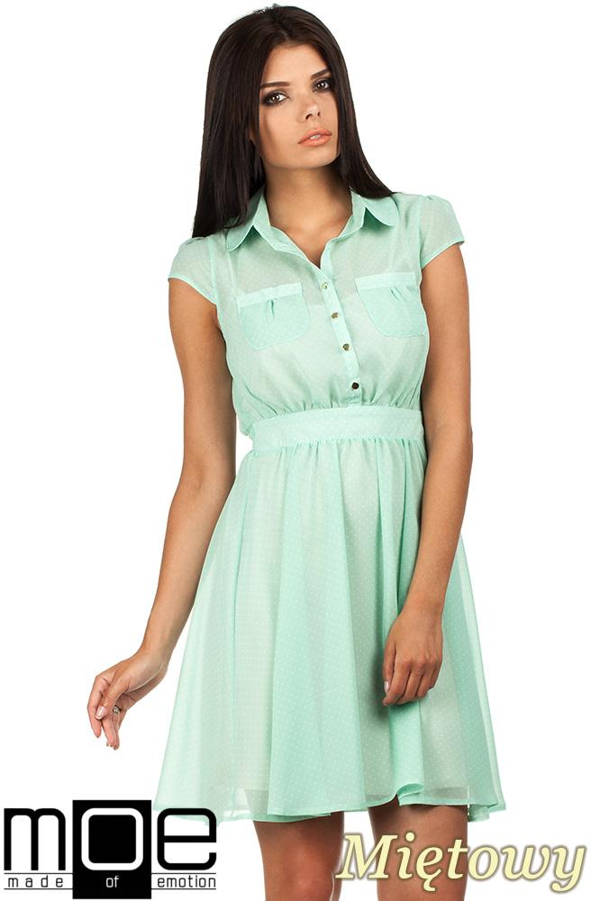 CM0792 Zwiewna szyfonowa sukienka w kropeczki 2w1 - miętowa