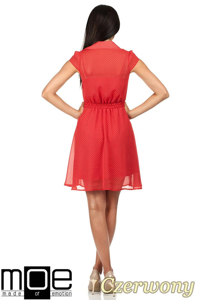 CM0792 Zwiewna szyfonowa sukienka w kropeczki 2w1 - czerwona