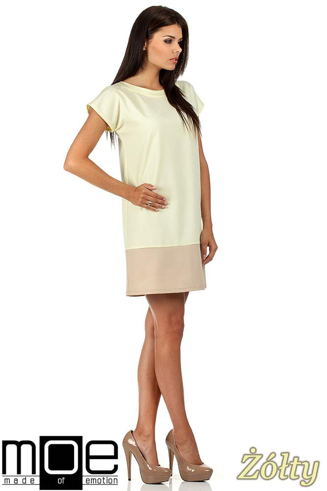 CM0818 Sukienka mini tunika z krótkim rękawkiem - żółta