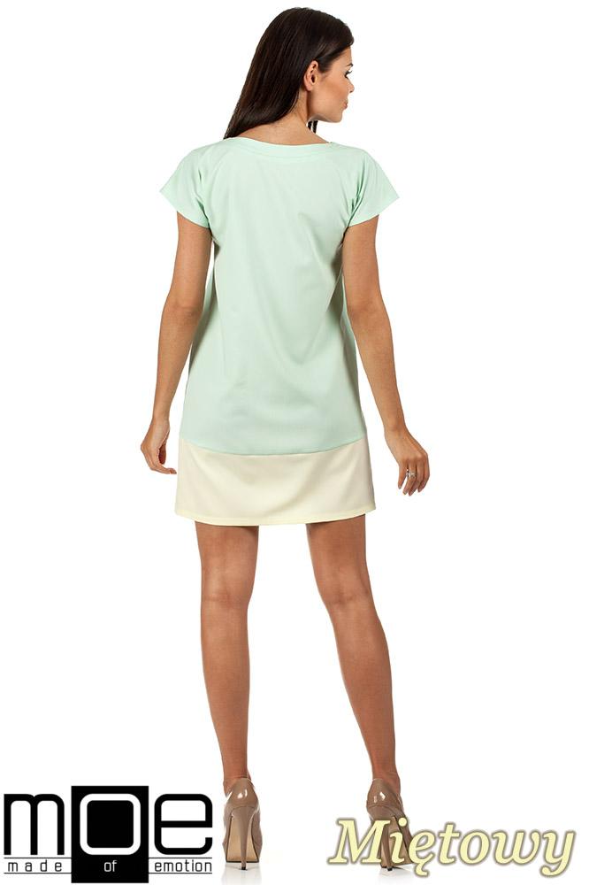 CM0818 Sukienka mini tunika z krótkim rękawkiem - miętowa