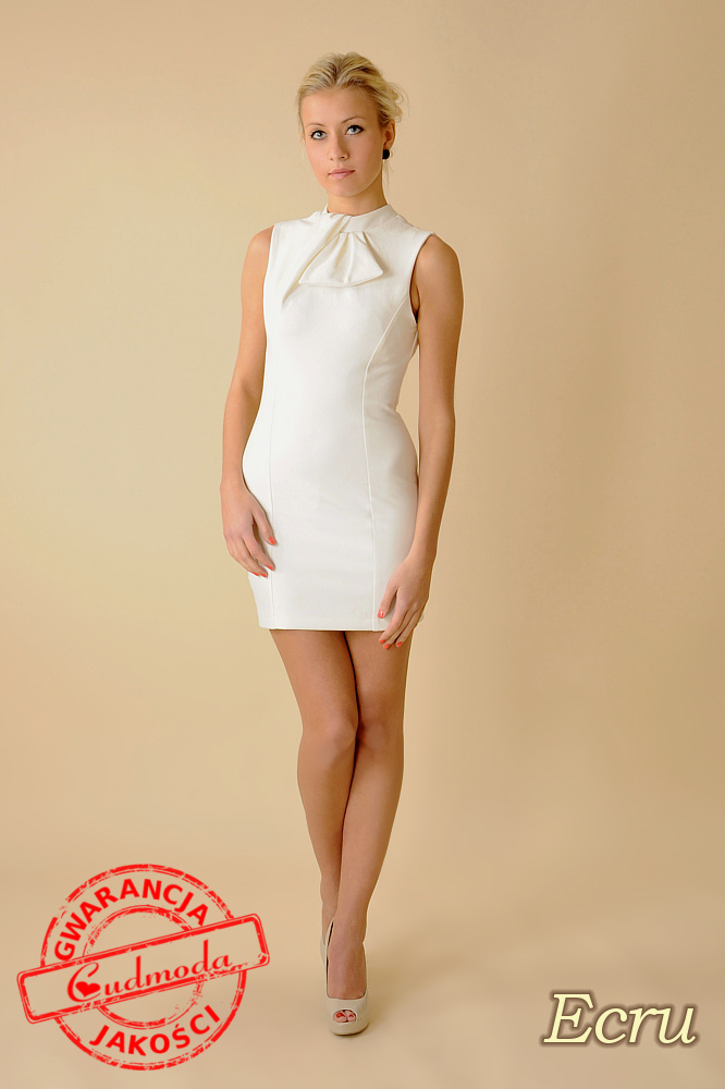 CM0068 Mini sukienka suwak z dzianiny - ecru