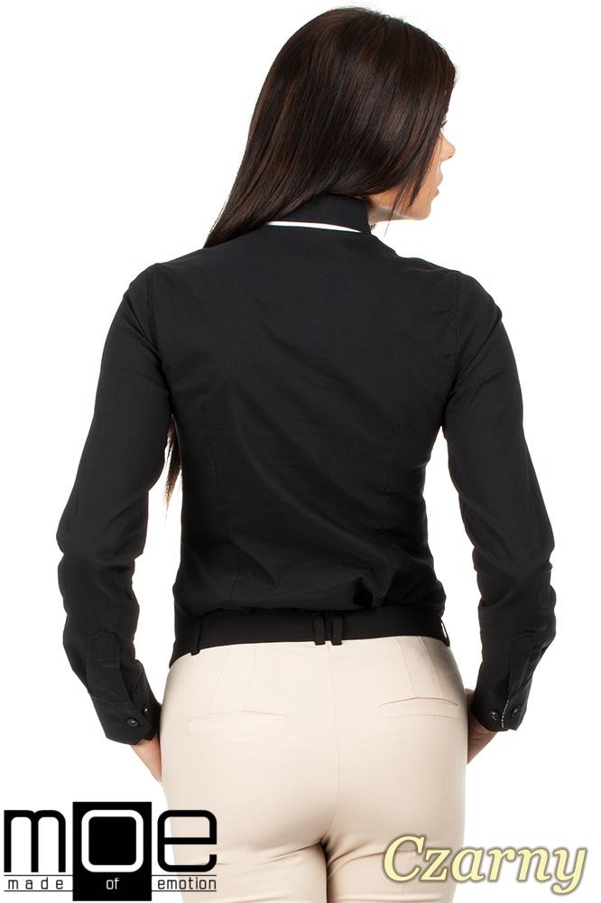 CM0664 Koszula damska z ozdobnym kołnierzykiem i plisą - czarny
