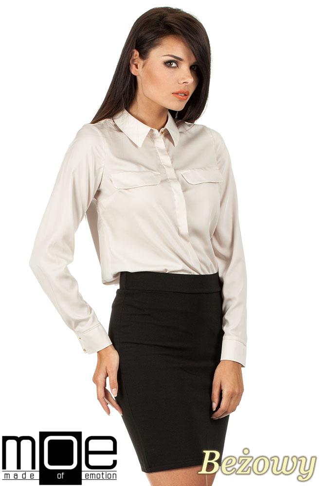 CM0658 Koszula damska z plisą i złotymi guzikami - beżowa