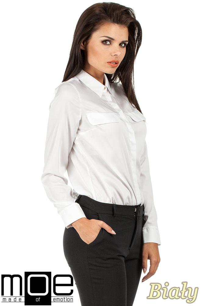 CM0658 Koszula damska z plisą i złotymi guzikami - biała
