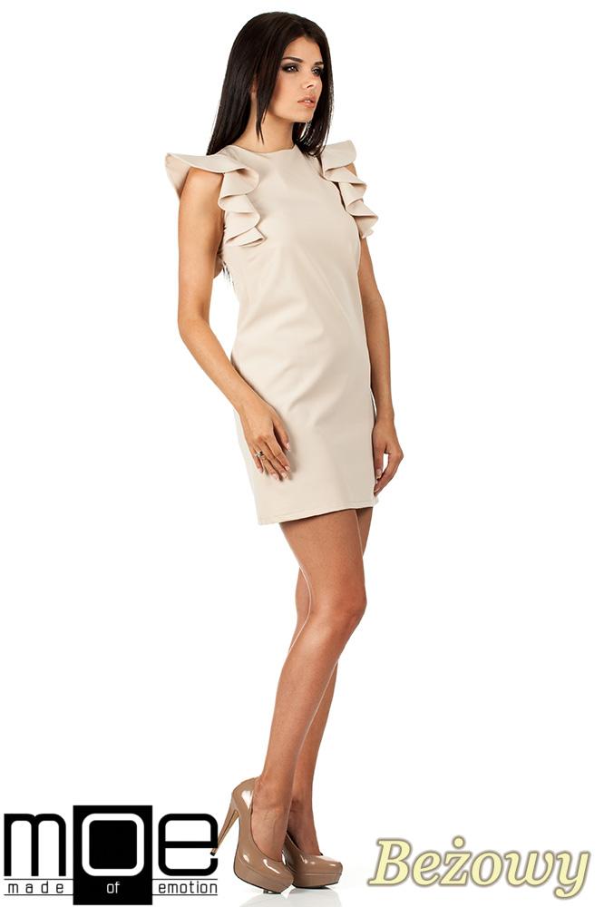 CM0817 Sukienka mini z falbanami przy ramionach - beżowa