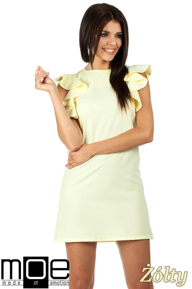 CM0817 Sukienka mini z falbanami przy ramionach - żółta