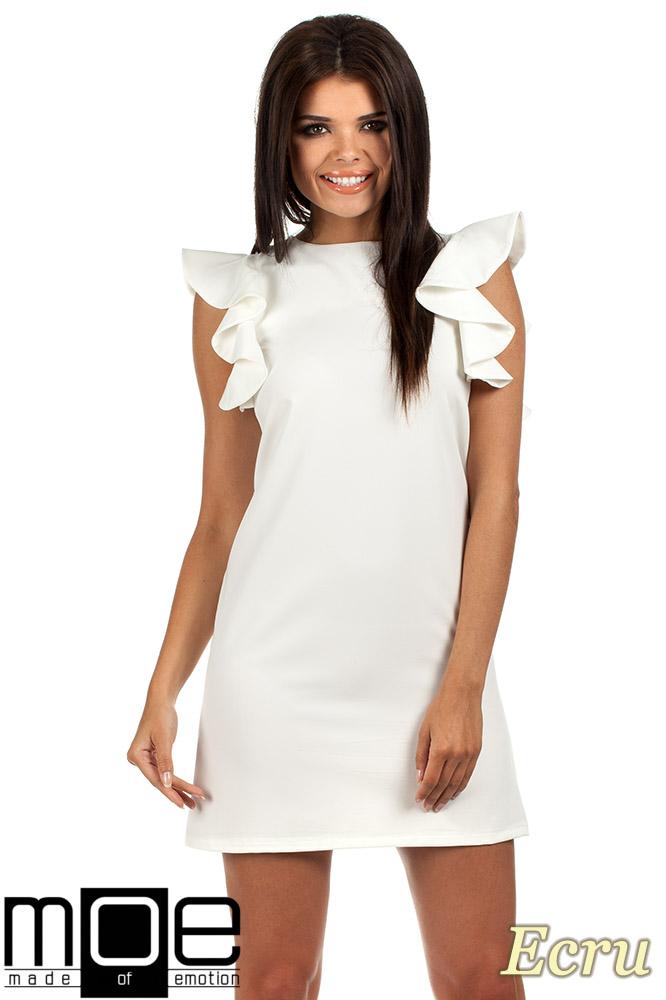 CM0817 Sukienka mini z falbanami przy ramionach - ecru