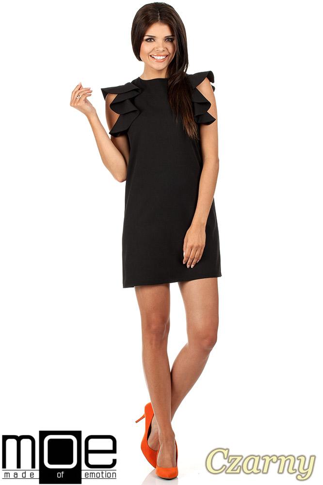 CM0817 Sukienka mini z falbanami przy ramionach - czarna