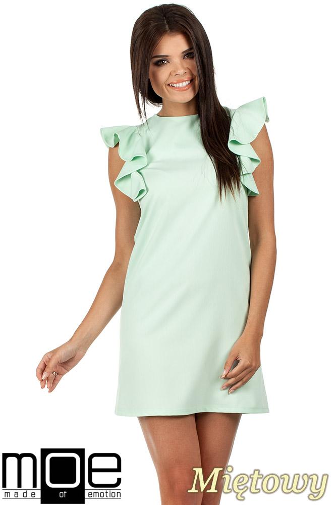 CM0817 Sukienka mini z falbanami przy ramionach - miętowa
