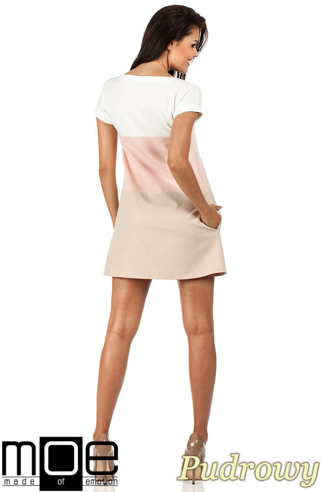 CM0823 Trapezowa sukienka w trzy pastelowe pasy - pudrowa