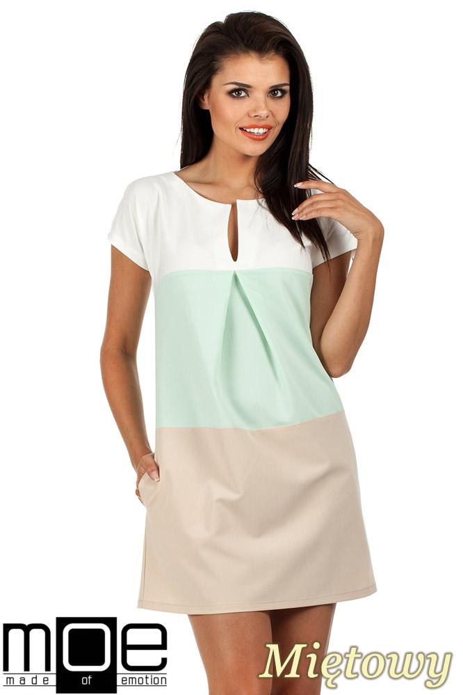 CM0823 Trapezowa sukienka w trzy pastelowe pasy - miętowa
