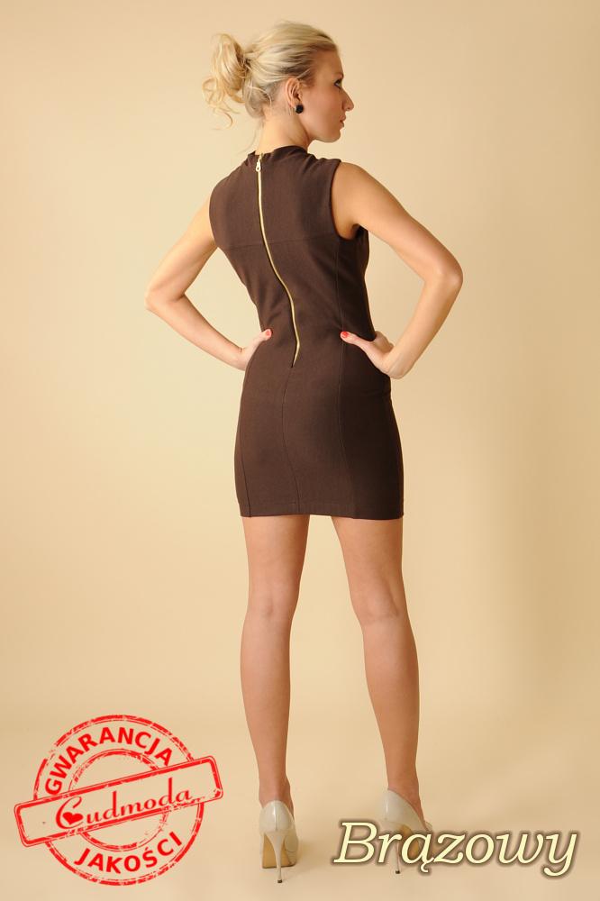 CM0068 Mini sukienka suwak z dzianiny - brązowa