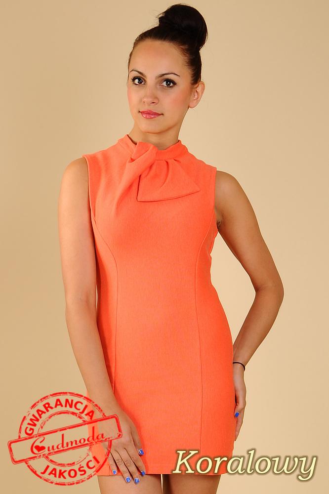 CM0068 Mini sukienka suwak z dzianiny - koralowa