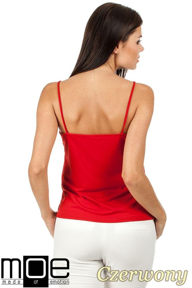CM0821 Klasyczna bluzka damska na ramiączkach - czerwona