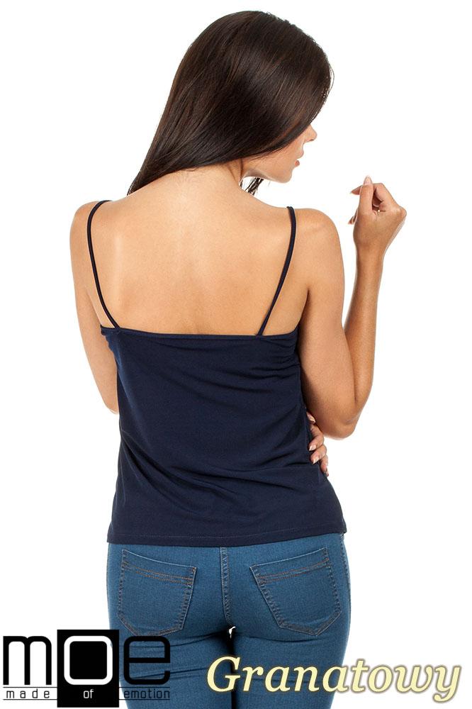 CM0821 Klasyczna bluzka damska na ramiączkach - granatowa