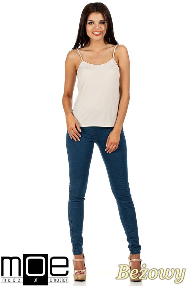CM0821 Klasyczna bluzka damska na ramiączkach - beżowa