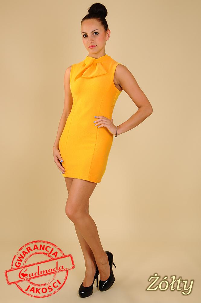 CM0068 Mini sukienka suwak z dzianiny - żółta