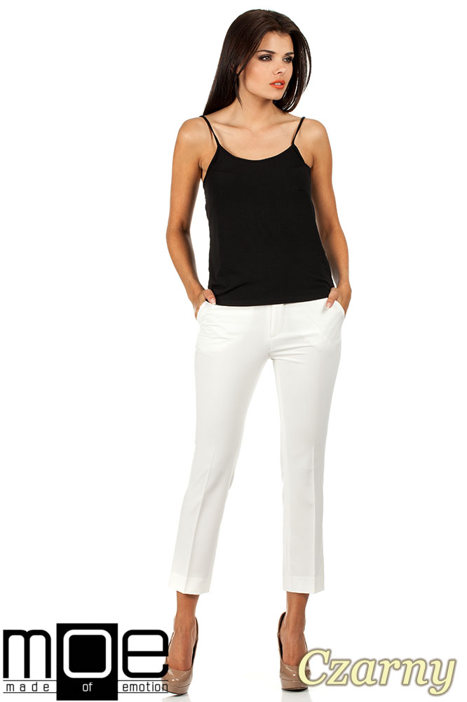 CM0821 Klasyczna bluzka damska na ramiączkach - czarna