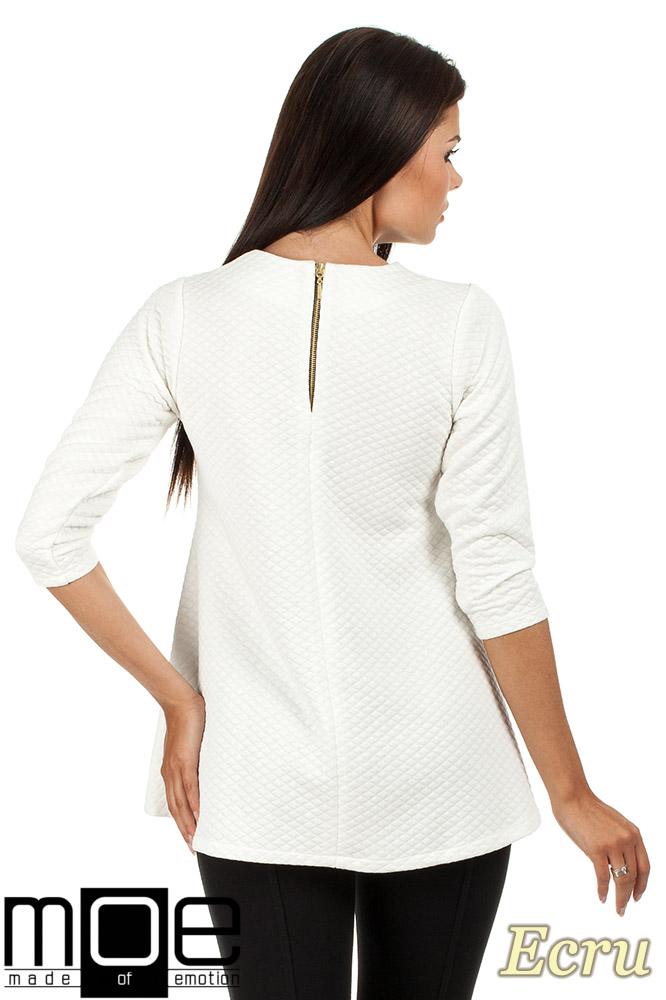 CM0668 Pikowana tunika bluzka damska z długimi rękawami - ecru