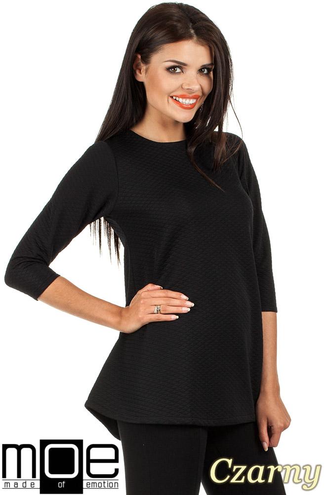 CM0668 Pikowana tunika bluzka damska z długimi rękawami - czarna