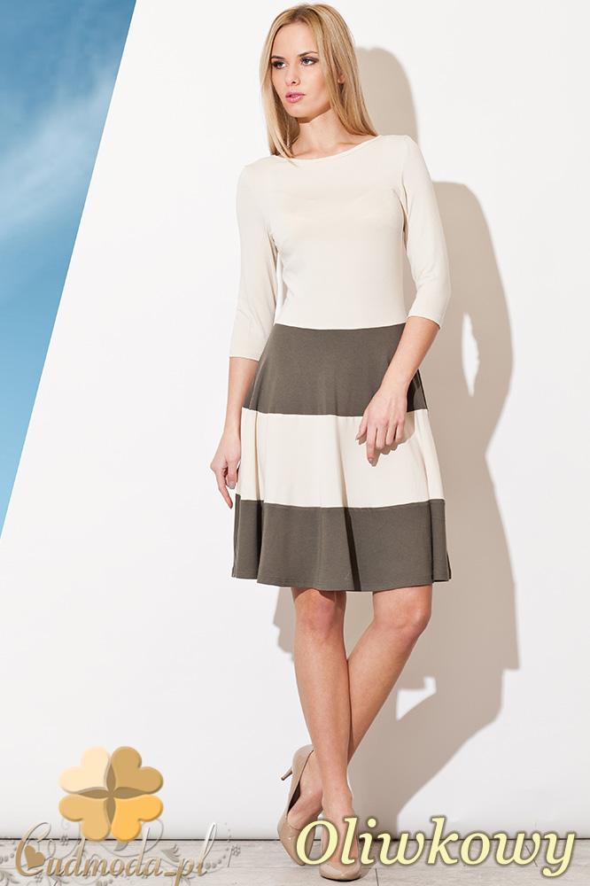 CM0826 FIGL M279 Elegancka sukienka w szerokie pasy - oliwkowa