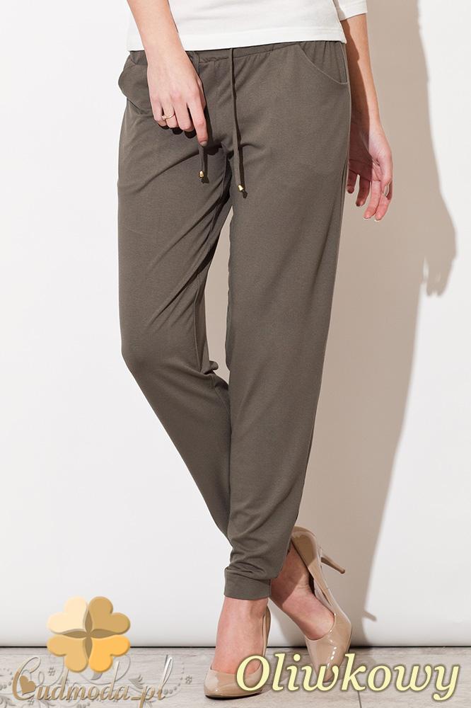 CM0827 FIGL M280 Luźne spodnie damskie z kieszeniami - oliwkowe