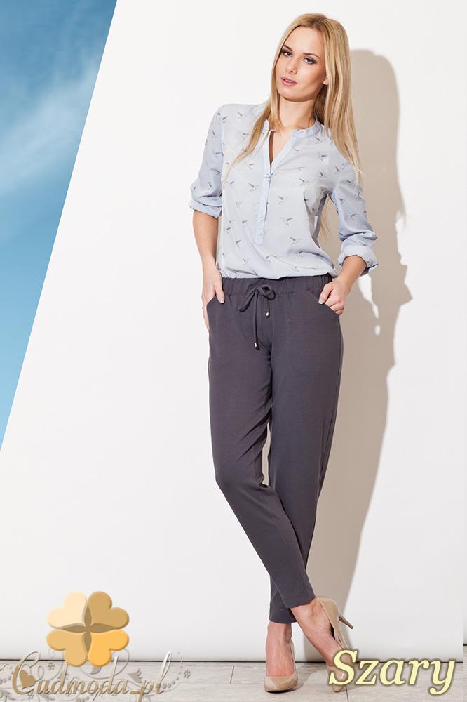 CM0827 FIGL M280 Luźne spodnie damskie z kieszeniami - szare