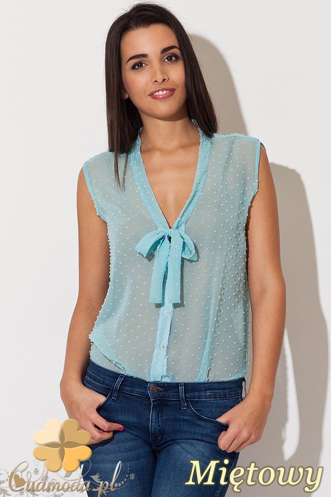 CM0829 KATRUS K155 Elegancka bluzka z lekko przezroczystego materiału z pęczkami - miętowa