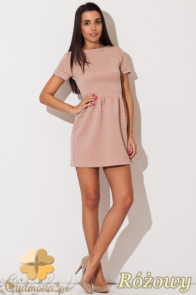 CM0834 KATRUS K147 Pikowana sukienka princeska - różowa