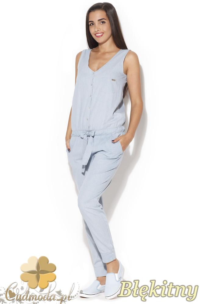 CM0836 KATRUS K160 Kombinezon jeansowy bez rękawów - błękitny
