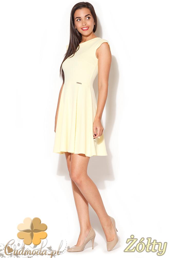 CM0838 KATRUS K162 Sukienka  rozkloszowana z mini rękawkiem - żółta