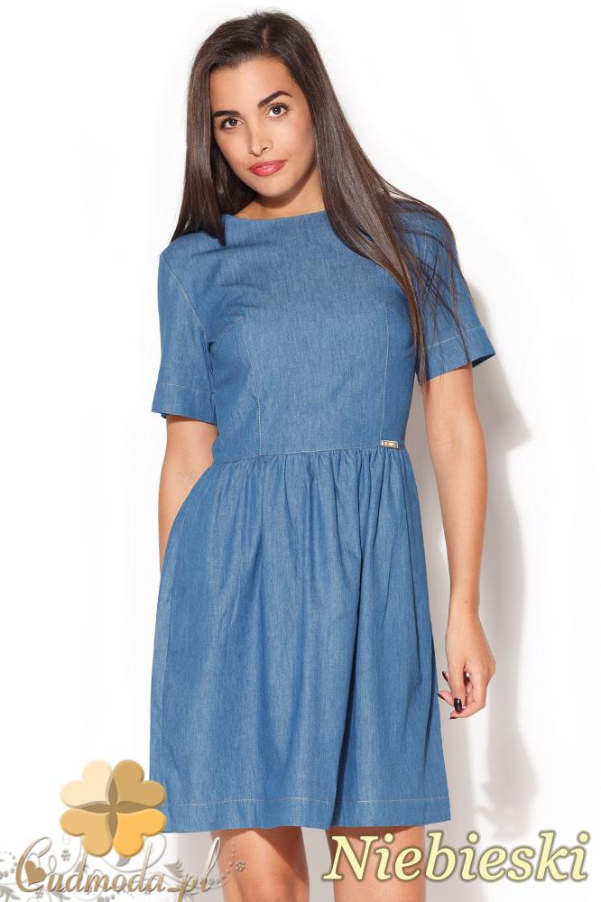 CM0839 KATRUS K164 Jeansowa sukienka rozkloszowana - niebieska