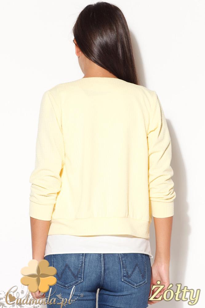 CM0873 KATRUS K169 Bluza damska zapinana na zamek - żółta