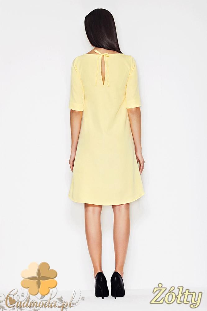 CM0891 AWAMA A56 Asymetryczna sukienka w fasonie litery A - żółta